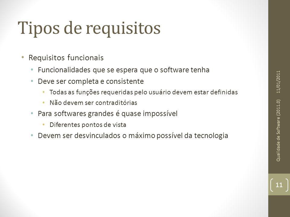 Tipos de requisitos Requisitos funcionais Funcionalidades que se espera que o software tenha Deve ser completa e consistente Todas as funções requerid