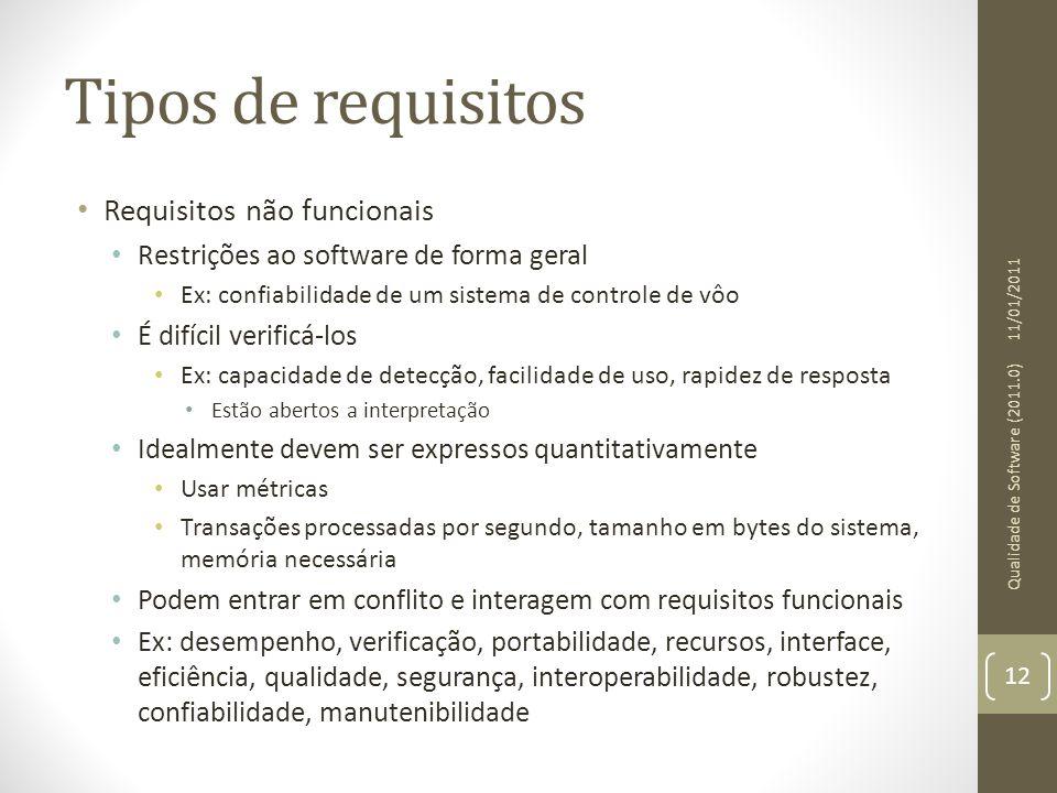 Tipos de requisitos Requisitos não funcionais Restrições ao software de forma geral Ex: confiabilidade de um sistema de controle de vôo É difícil veri