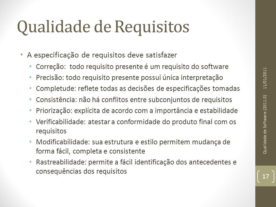 Qualidade de Requisitos A especificação de requisitos deve satisfazer Correção: todo requisito presente é um requisito do software Precisão: todo requ