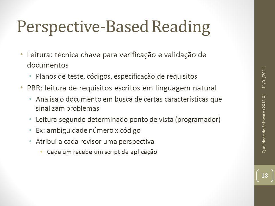 Perspective-Based Reading Leitura: técnica chave para verificação e validação de documentos Planos de teste, códigos, especificação de requisitos PBR: