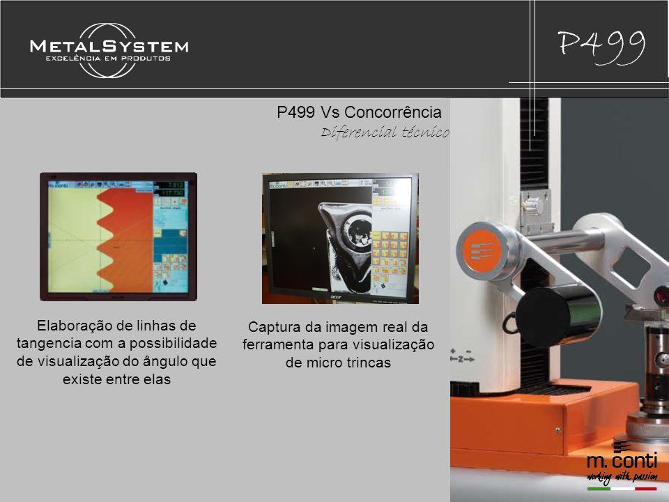 P499 Elaboração de linhas de tangencia com a possibilidade de visualização do ângulo que existe entre elas P499 Vs Concorrência Diferencial técnico Captura da imagem real da ferramenta para visualização de micro trincas