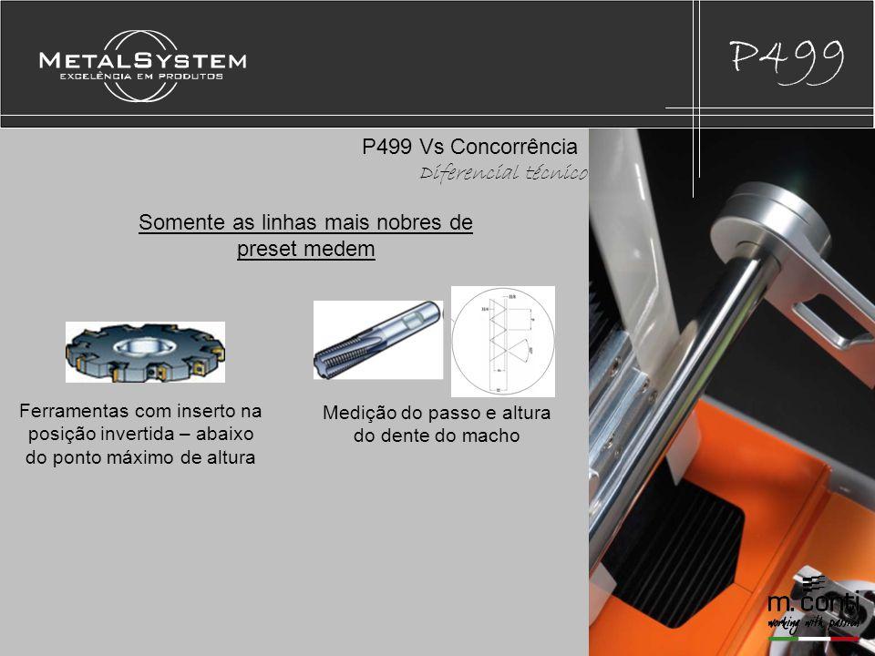 P499 P499 Vs Concorrência Diferencial técnico Medição do diâmetro do chanfro à partir de uma determinada medida da ferramenta Medição de ferramentas escalonadas onde a região de imagem máxima de diâmetro não é o ponto que se deseja medir.