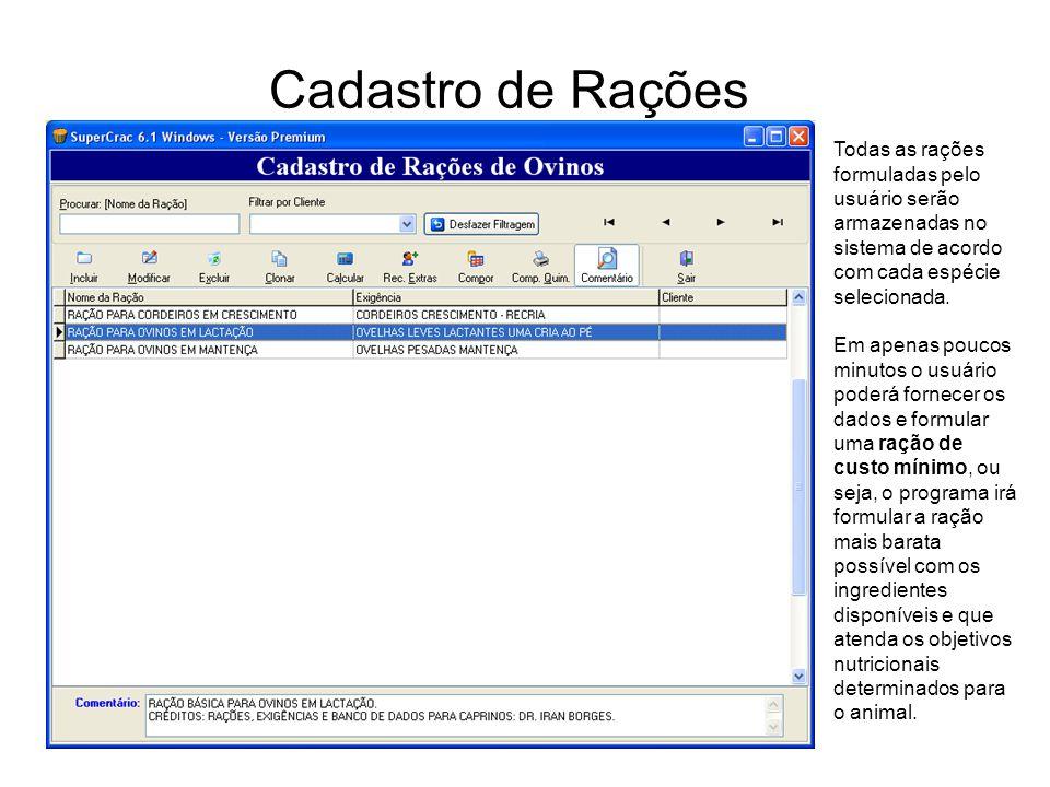 Cadastro de Rações Todas as rações formuladas pelo usuário serão armazenadas no sistema de acordo com cada espécie selecionada. Em apenas poucos minut