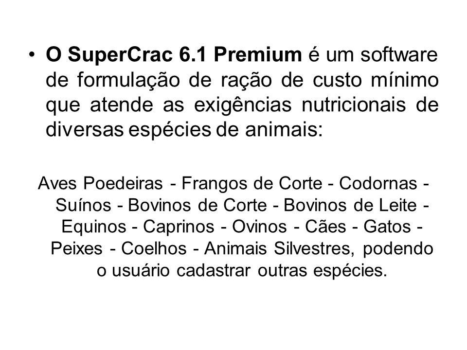 O SuperCrac 6.1 Premium é um software de formulação de ração de custo mínimo que atende as exigências nutricionais de diversas espécies de animais: Av