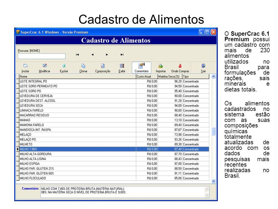 Cadastro de Alimentos O SuperCrac 6.1 Premium possui um cadastro com mais de 230 alimentos utilizados no Brasil para formulações de rações, sais miner