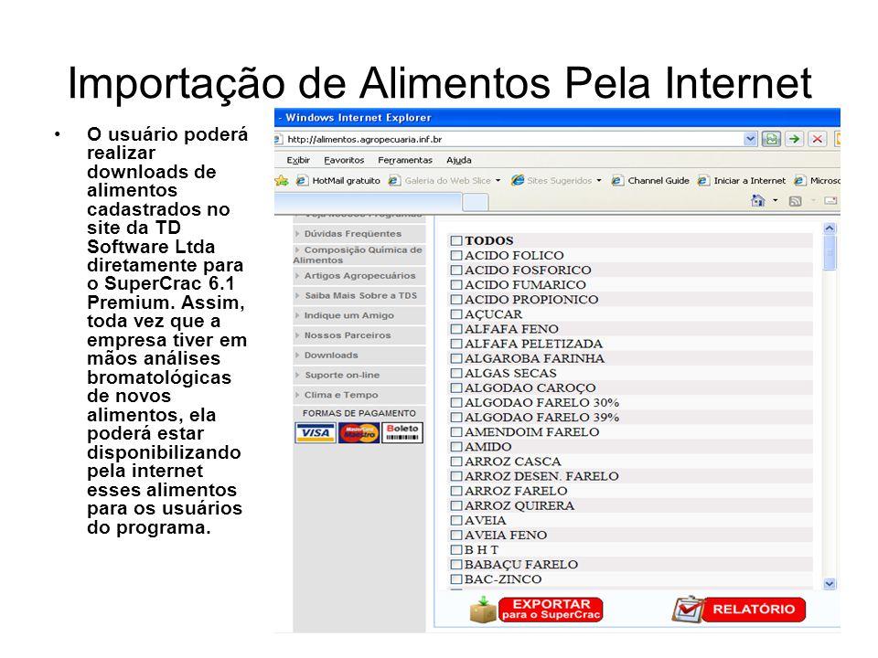 Importação de Alimentos Pela Internet O usuário poderá realizar downloads de alimentos cadastrados no site da TD Software Ltda diretamente para o Supe