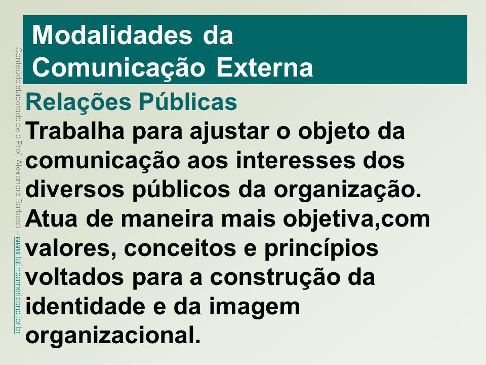 Conteúdo elaborado pelo Prof. Alexandre Barbosa – www.latinoamericano.jor.br www.latinoamericano.jor.br Modalidades da Comunicação Externa Relações Pú