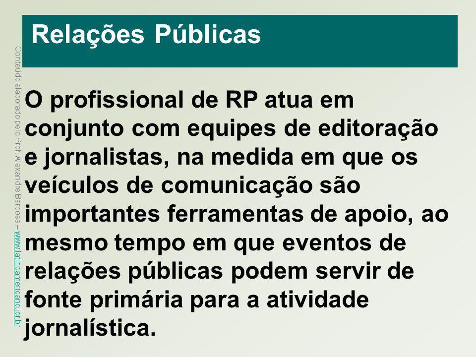 Conteúdo elaborado pelo Prof. Alexandre Barbosa – www.latinoamericano.jor.br www.latinoamericano.jor.br Relações Públicas O profissional de RP atua em