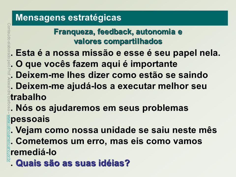 Conteúdo elaborado pelo Prof. Alexandre Barbosa – www.latinoamericano.jor.br www.latinoamericano.jor.br Mensagens estratégicas. Esta é a nossa missão