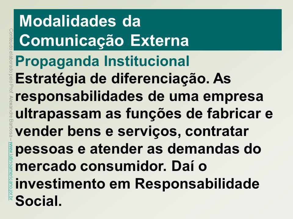 Conteúdo elaborado pelo Prof. Alexandre Barbosa – www.latinoamericano.jor.br www.latinoamericano.jor.br Modalidades da Comunicação Externa Propaganda