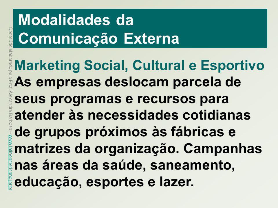 Conteúdo elaborado pelo Prof. Alexandre Barbosa – www.latinoamericano.jor.br www.latinoamericano.jor.br Modalidades da Comunicação Externa Marketing S