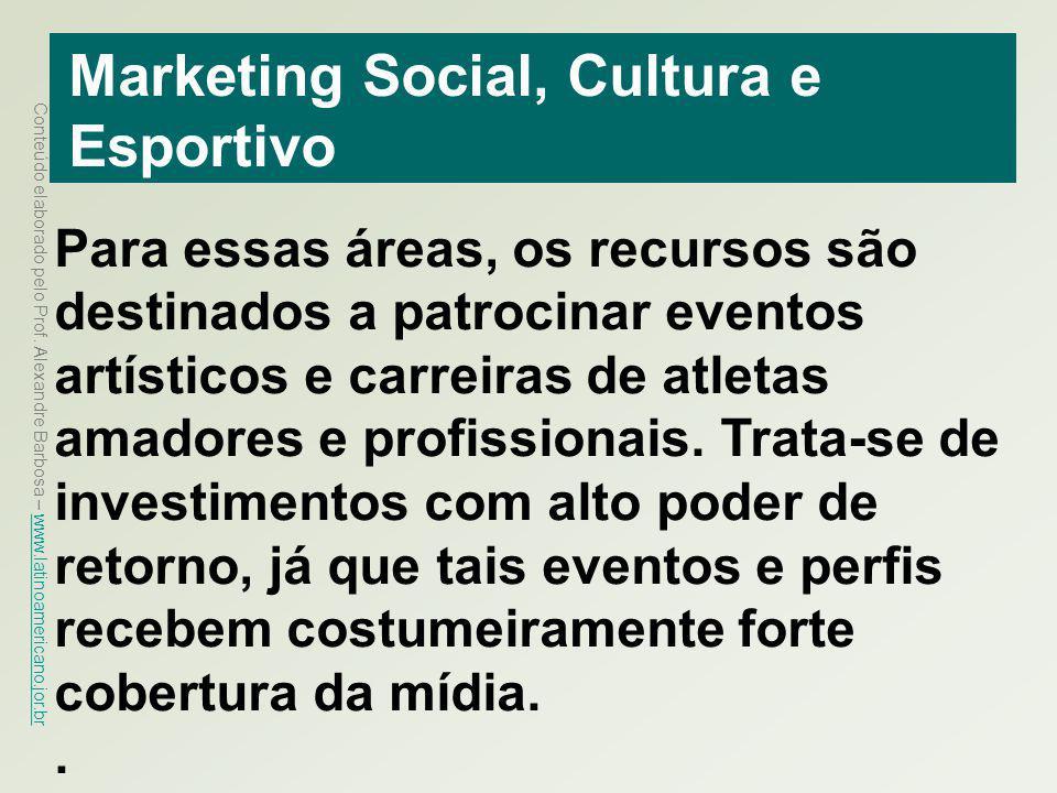 Conteúdo elaborado pelo Prof. Alexandre Barbosa – www.latinoamericano.jor.br www.latinoamericano.jor.br Marketing Social, Cultura e Esportivo Para ess