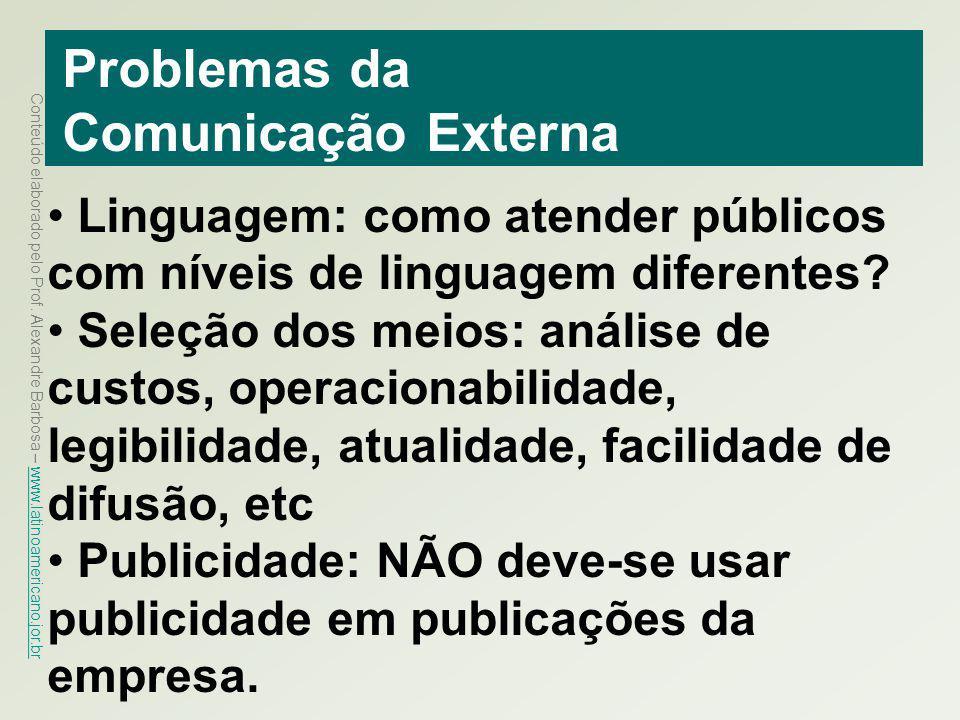 Conteúdo elaborado pelo Prof. Alexandre Barbosa – www.latinoamericano.jor.br www.latinoamericano.jor.br Problemas da Comunicação Externa Linguagem: co