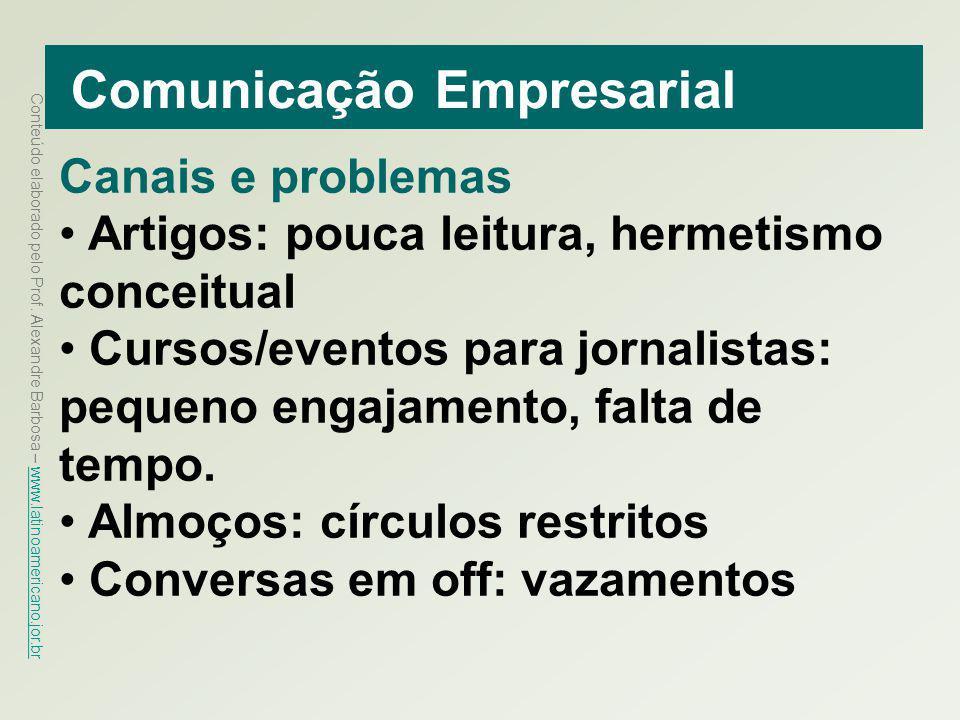 Conteúdo elaborado pelo Prof. Alexandre Barbosa – www.latinoamericano.jor.br www.latinoamericano.jor.br Comunicação Empresarial Canais e problemas Art