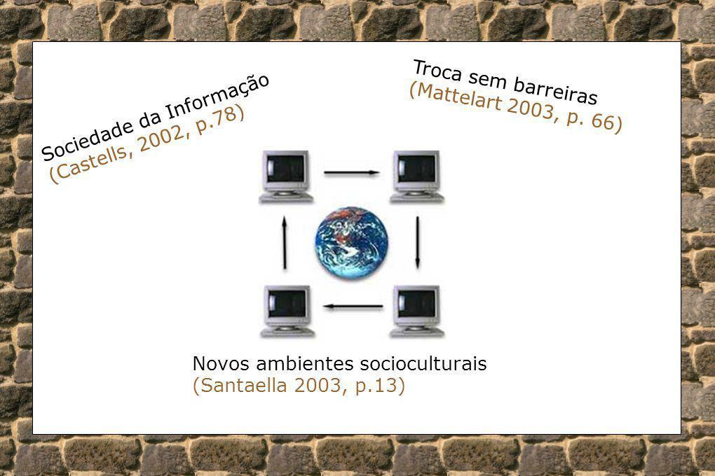 Sociedade da Informação (Castells, 2002, p.78) Troca sem barreiras (Mattelart 2003, p. 66) Novos ambientes socioculturais (Santaella 2003, p.13)