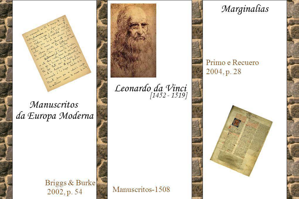 Manuscritos da Europa Moderna Briggs & Burke 2002, p. 54 Leonardo da Vinci [1452 - 1519] Manuscritos-1508 Marginalias Primo e Recuero 2004, p. 28