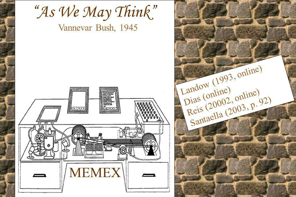 MEMEX As We May Think Vannevar Bush, 1945 Landow (1993, online) Dias (online) Reis (20002, online) Santaella (2003, p. 92)