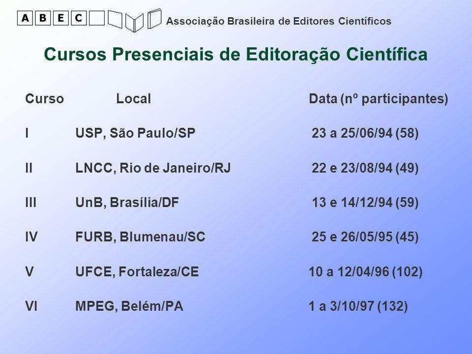 Associação Brasileira de Editores Científicos Curso Local Data (nº participantes) I USP, São Paulo/SP 23 a 25/06/94 (58) II LNCC, Rio de Janeiro/RJ 22