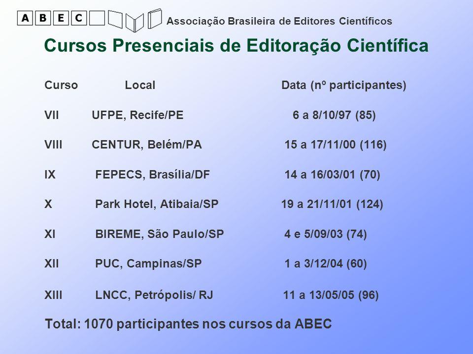 Associação Brasileira de Editores Científicos Cursos Presenciais de Editoração Científica Curso Local Data (nº participantes) VII UFPE, Recife/PE 6 a