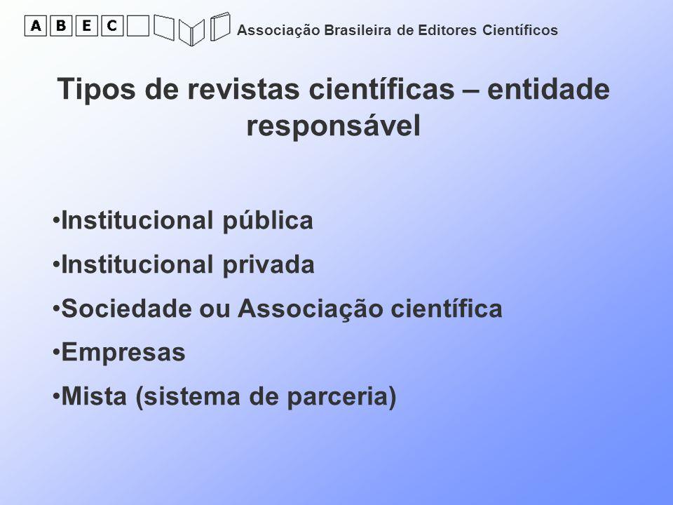 Associação Brasileira de Editores Científicos Tipos de revistas científicas – entidade responsável Institucional pública Institucional privada Socieda