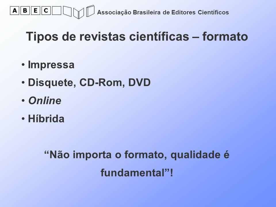 Associação Brasileira de Editores Científicos Tipos de revistas científicas – formato Impressa Disquete, CD-Rom, DVD Online Híbrida Não importa o form