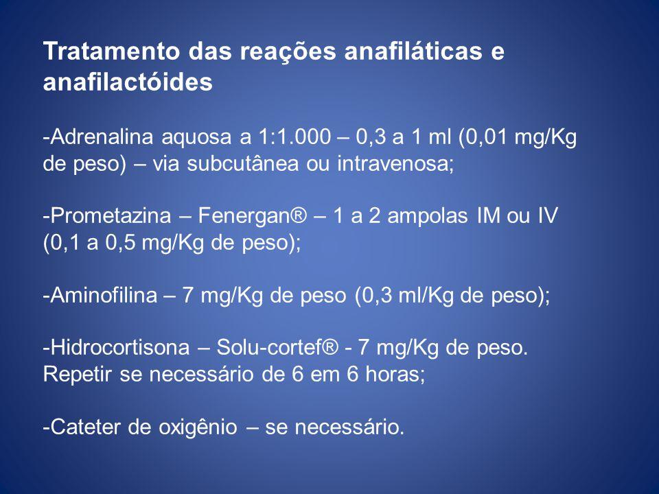 Tratamento das reações anafiláticas e anafilactóides -Adrenalina aquosa a 1:1.000 – 0,3 a 1 ml (0,01 mg/Kg de peso) – via subcutânea ou intravenosa; -