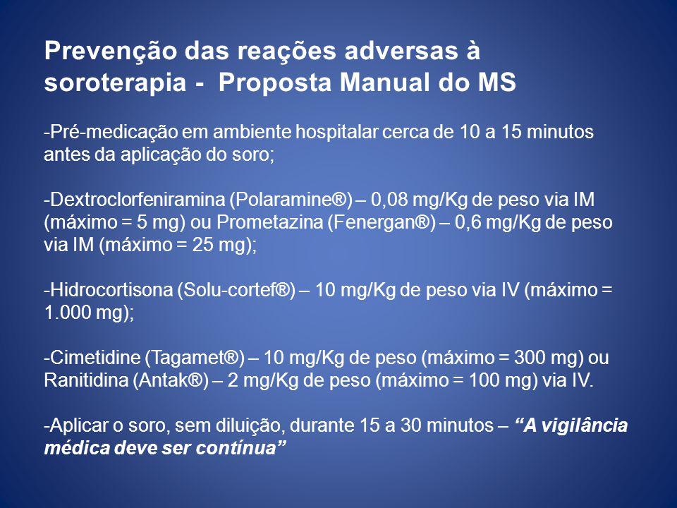 Prevenção das reações adversas à soroterapia - Proposta Manual do MS -Pré-medicação em ambiente hospitalar cerca de 10 a 15 minutos antes da aplicação