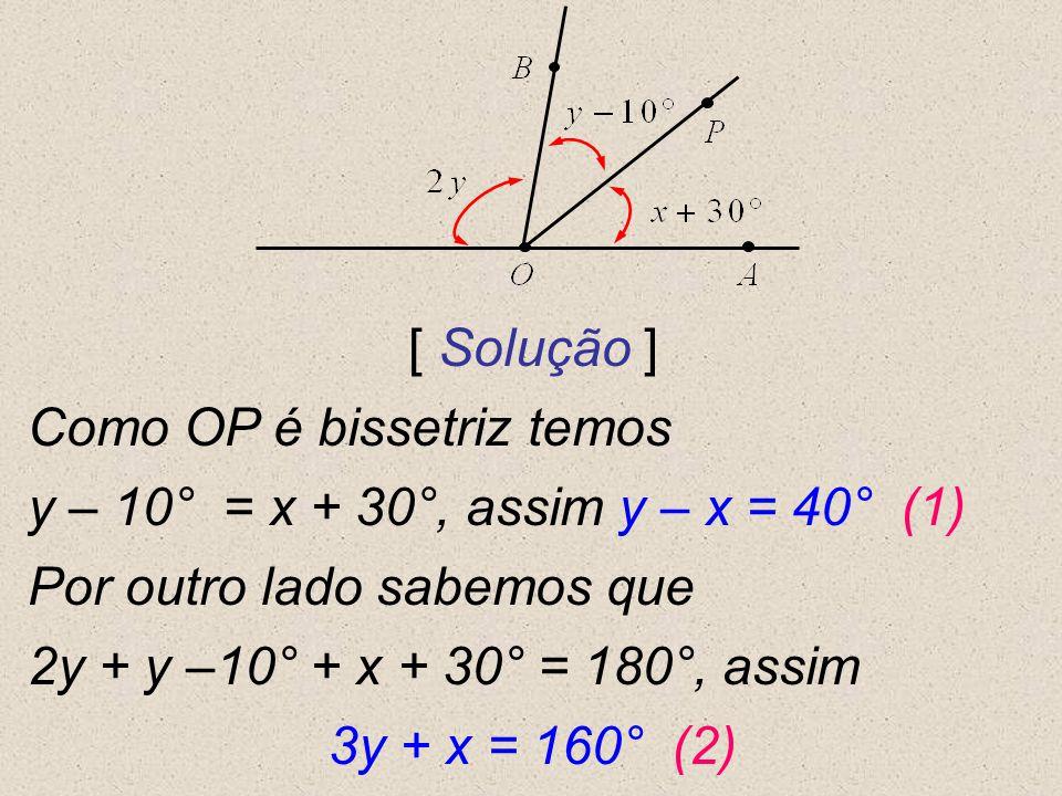 [ Solução ] Como OP é bissetriz temos y – 10° = x + 30°, assim y – x = 40° (1) Por outro lado sabemos que 2y + y –10° + x + 30° = 180°, assim 3y + x =
