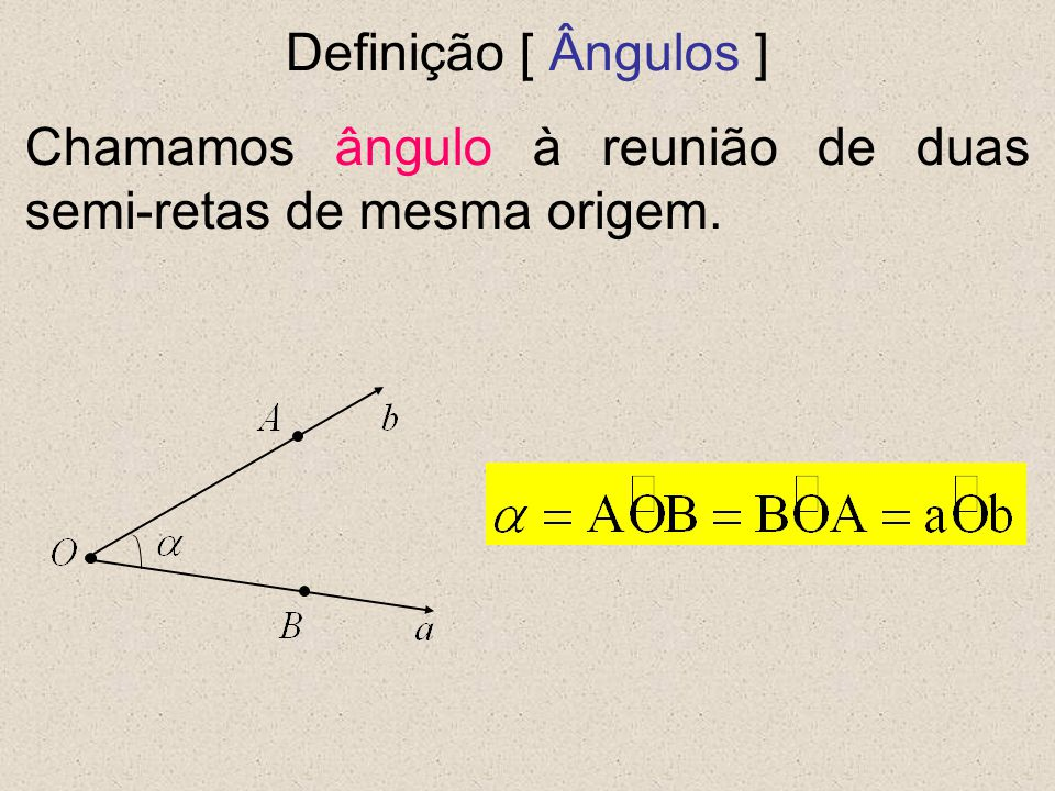 Definição [ Ângulos ] Chamamos ângulo à reunião de duas semi-retas de mesma origem.