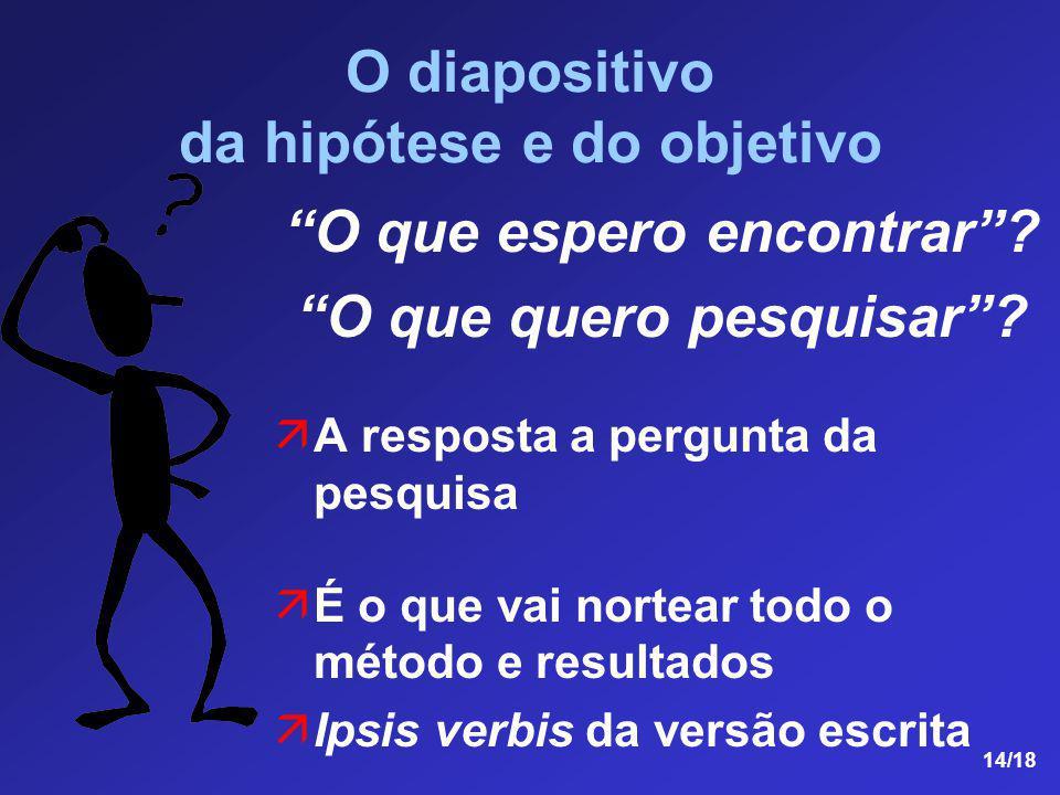 14/18 O diapositivo da hipótese e do objetivo O que espero encontrar? O que quero pesquisar? A resposta a pergunta da pesquisa É o que vai nortear tod