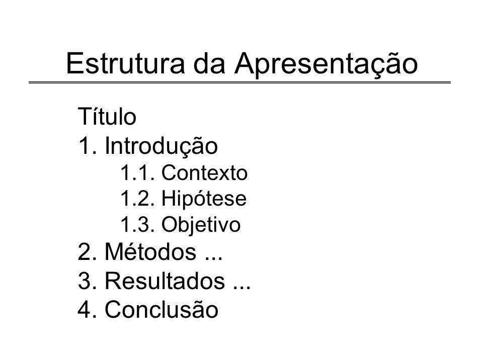 3/18 Estrutura da Apresentação Título 1. Introdução 1.1. Contexto 1.2. Hipótese 1.3. Objetivo 2. Métodos... 3. Resultados... 4. Conclusão
