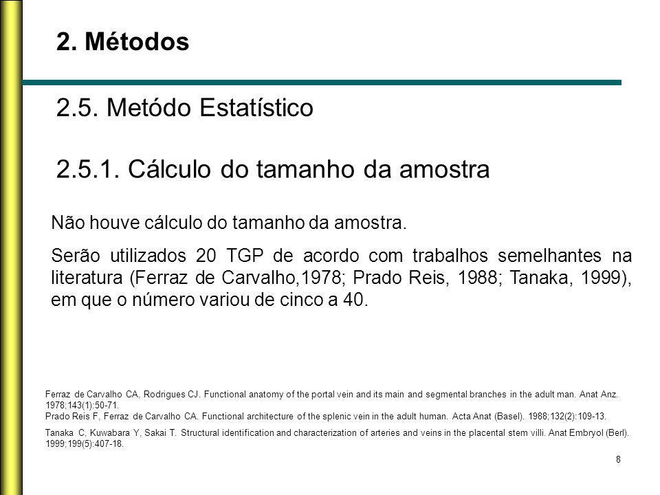 8 2. Métodos 2.5. Metódo Estatístico Não houve cálculo do tamanho da amostra. Serão utilizados 20 TGP de acordo com trabalhos semelhantes na literatur