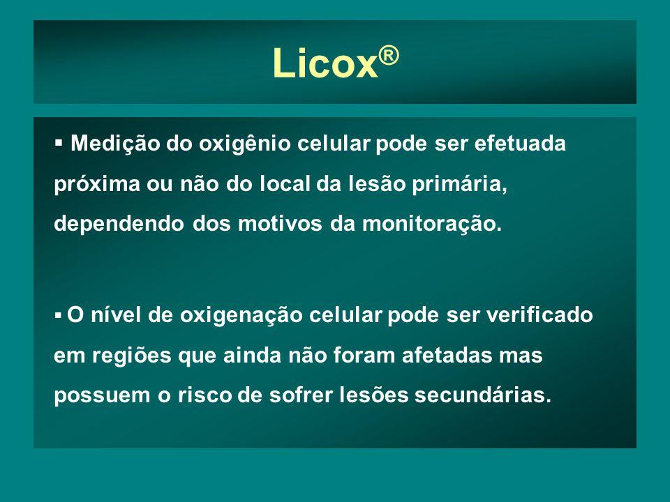 Licox ® Medição do oxigênio celular pode ser efetuada próxima ou não do local da lesão primária, dependendo dos motivos da monitoração.