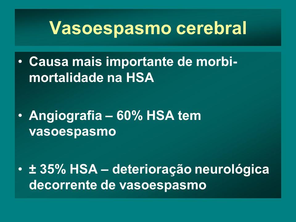 Vasoespasmo cerebral Causa mais importante de morbi- mortalidade na HSA Angiografia – 60% HSA tem vasoespasmo ± 35% HSA – deterioração neurológica decorrente de vasoespasmo