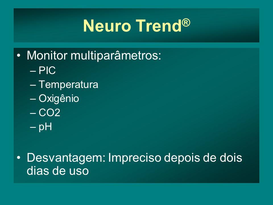 Neuro Trend ® Monitor multiparâmetros: –PIC –Temperatura –Oxigênio –CO2 –pH Desvantagem: Impreciso depois de dois dias de uso