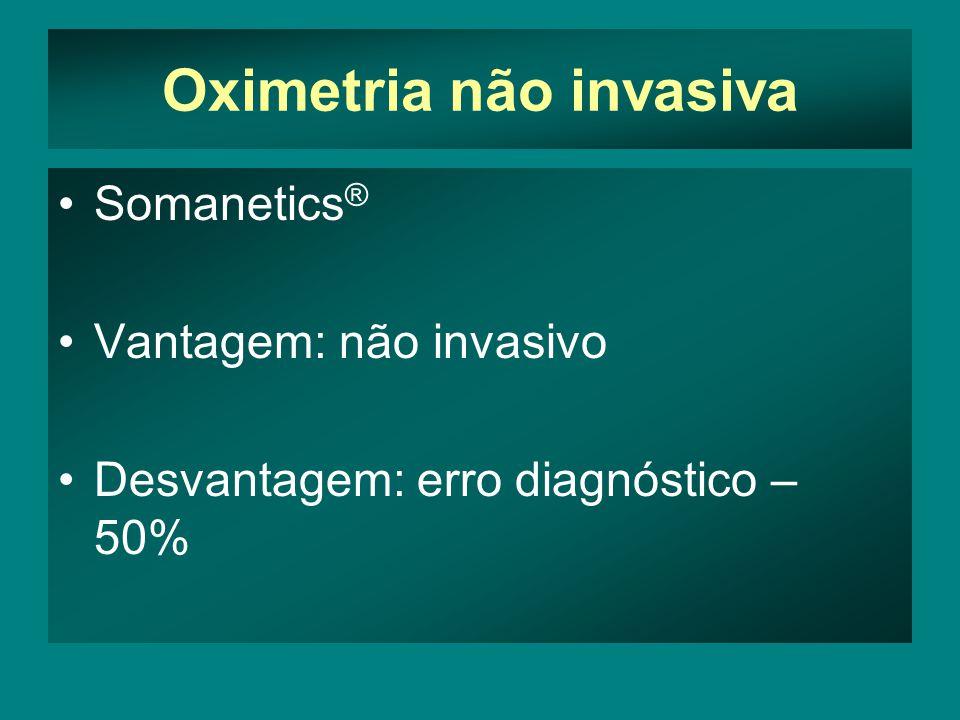 Oximetria não invasiva Somanetics ® Vantagem: não invasivo Desvantagem: erro diagnóstico – 50%
