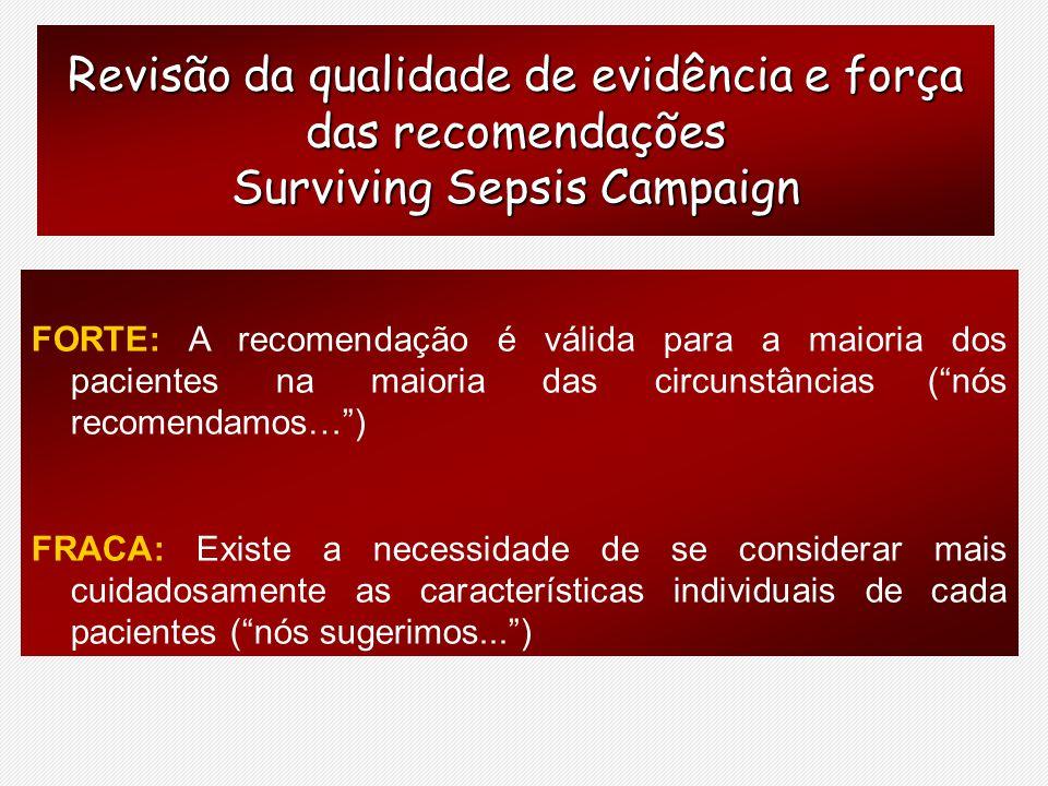 Revisão da qualidade de evidência e força das recomendações Surviving Sepsis Campaign FORTE: A recomendação é válida para a maioria dos pacientes na m