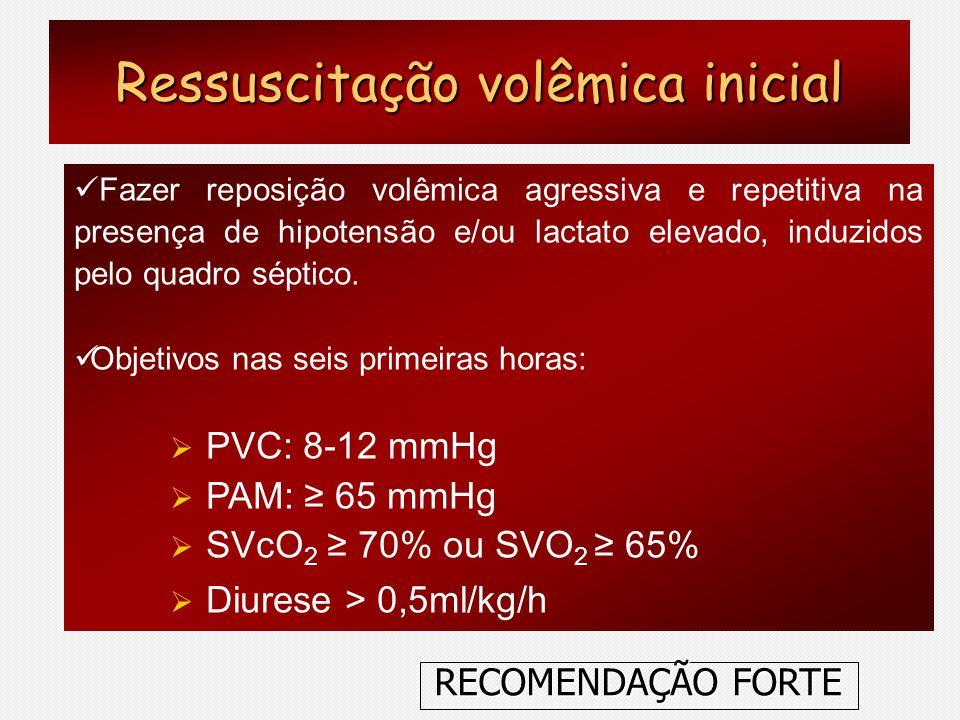 Fazer reposição volêmica agressiva e repetitiva na presença de hipotensão e/ou lactato elevado, induzidos pelo quadro séptico. Objetivos nas seis prim