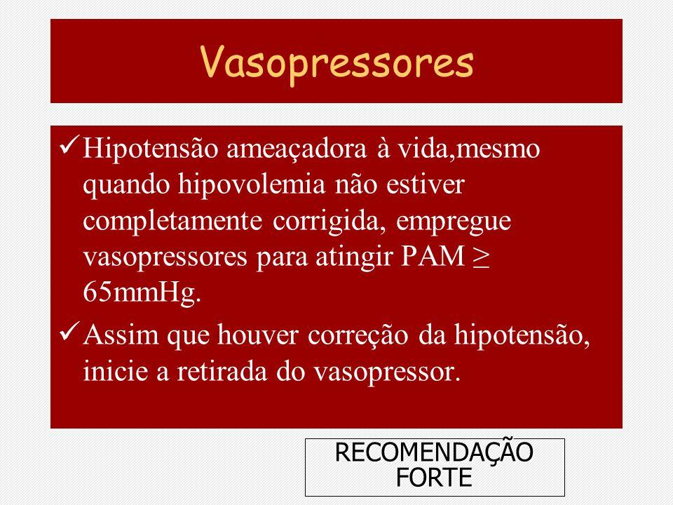 Vasopressores Hipotensão ameaçadora à vida,mesmo quando hipovolemia não estiver completamente corrigida, empregue vasopressores para atingir PAM 65mmH