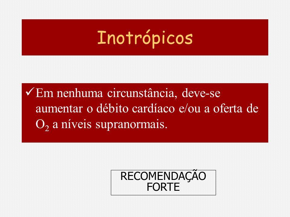 Inotrópicos Em nenhuma circunstância, deve-se aumentar o débito cardíaco e/ou a oferta de O 2 a níveis supranormais. RECOMENDAÇÃO FORTE