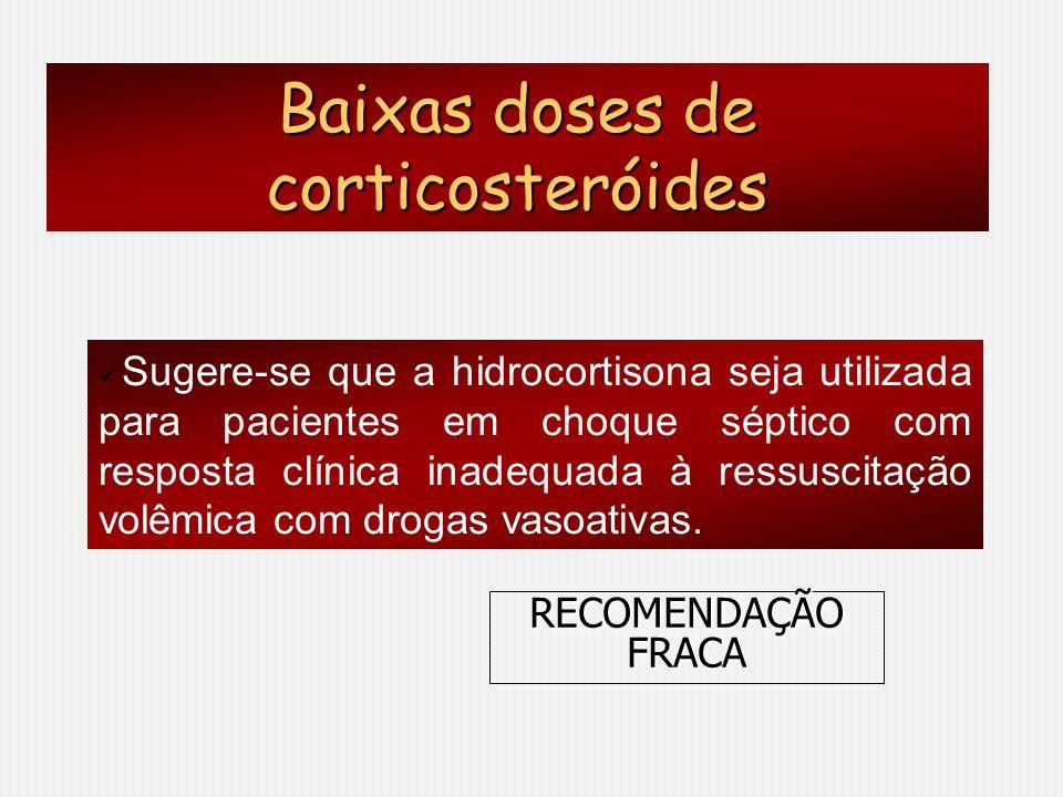 Sugere-se que a hidrocortisona seja utilizada para pacientes em choque séptico com resposta clínica inadequada à ressuscitação volêmica com drogas vas