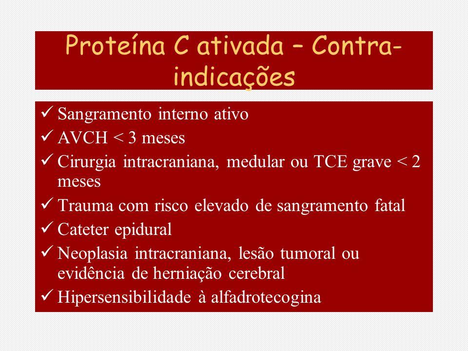 Proteína C ativada – Contra- indicações Sangramento interno ativo AVCH < 3 meses Cirurgia intracraniana, medular ou TCE grave < 2 meses Trauma com ris