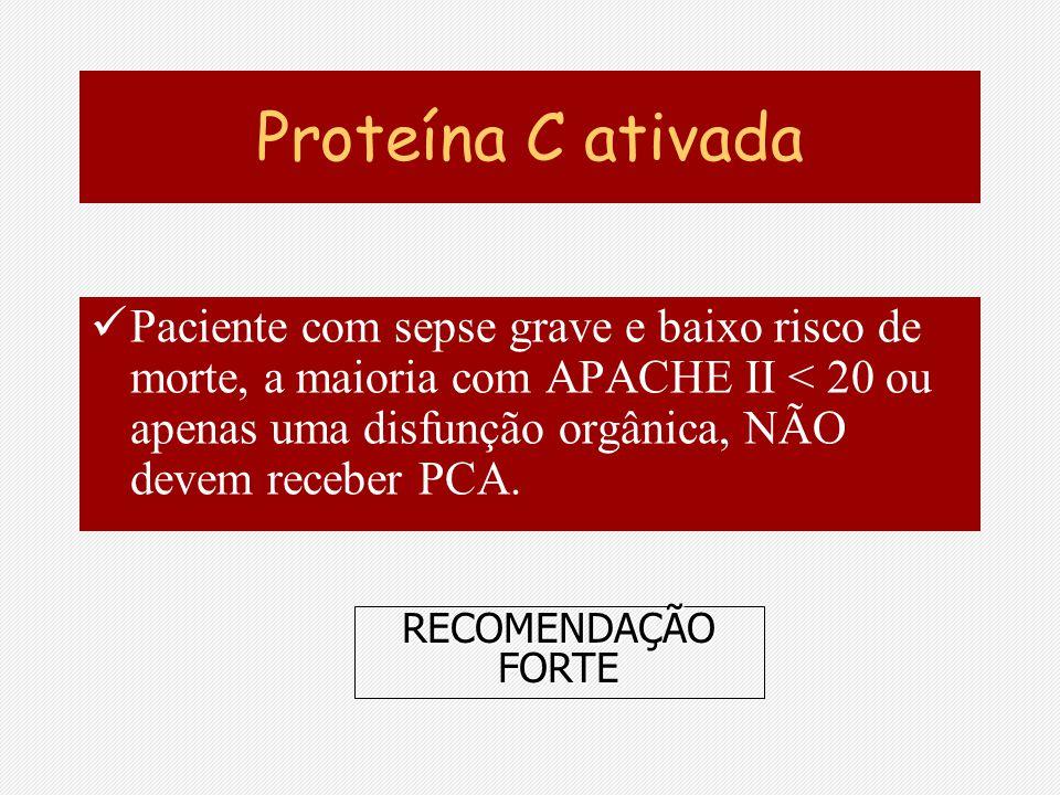 Proteína C ativada Paciente com sepse grave e baixo risco de morte, a maioria com APACHE II < 20 ou apenas uma disfunção orgânica, NÃO devem receber P