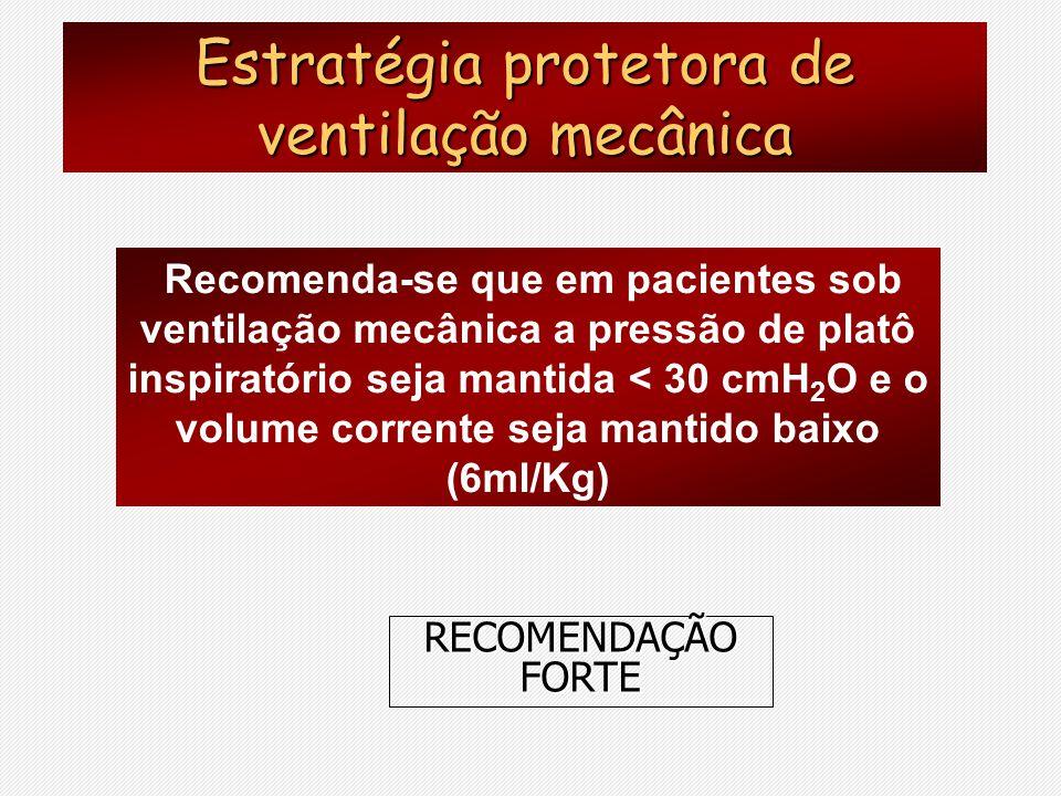 Recomenda-se que em pacientes sob ventilação mecânica a pressão de platô inspiratório seja mantida < 30 cmH 2 O e o volume corrente seja mantido baixo