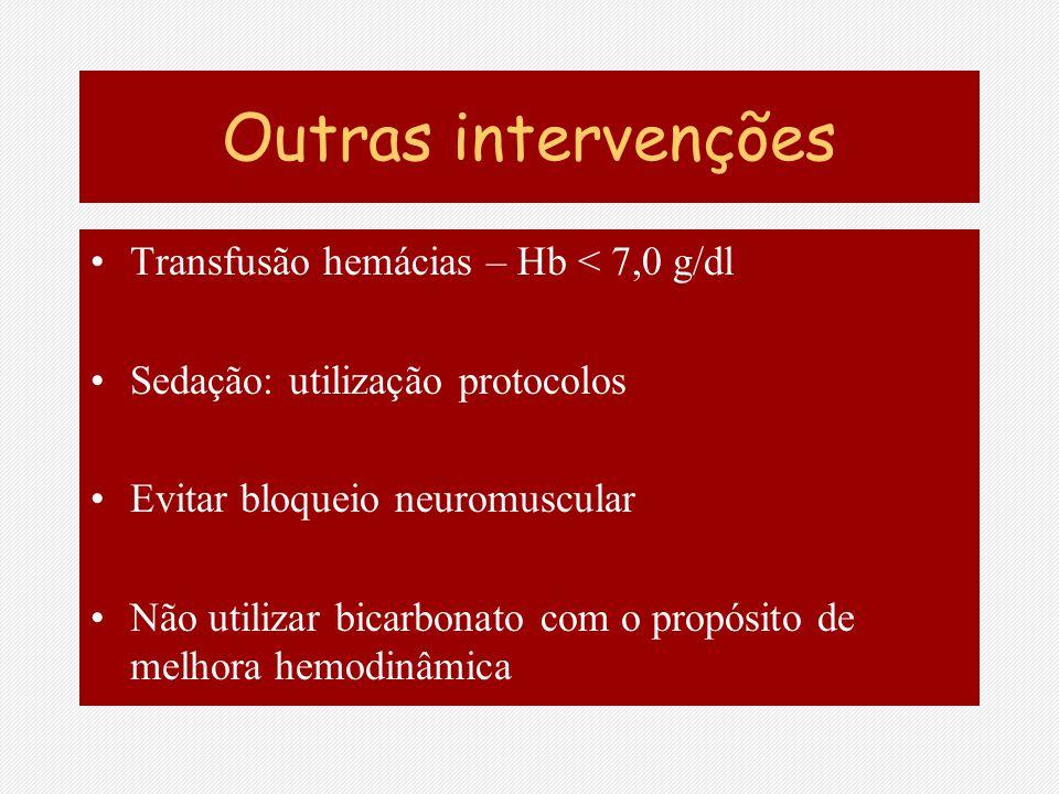Outras intervenções Transfusão hemácias – Hb < 7,0 g/dl Sedação: utilização protocolos Evitar bloqueio neuromuscular Não utilizar bicarbonato com o pr