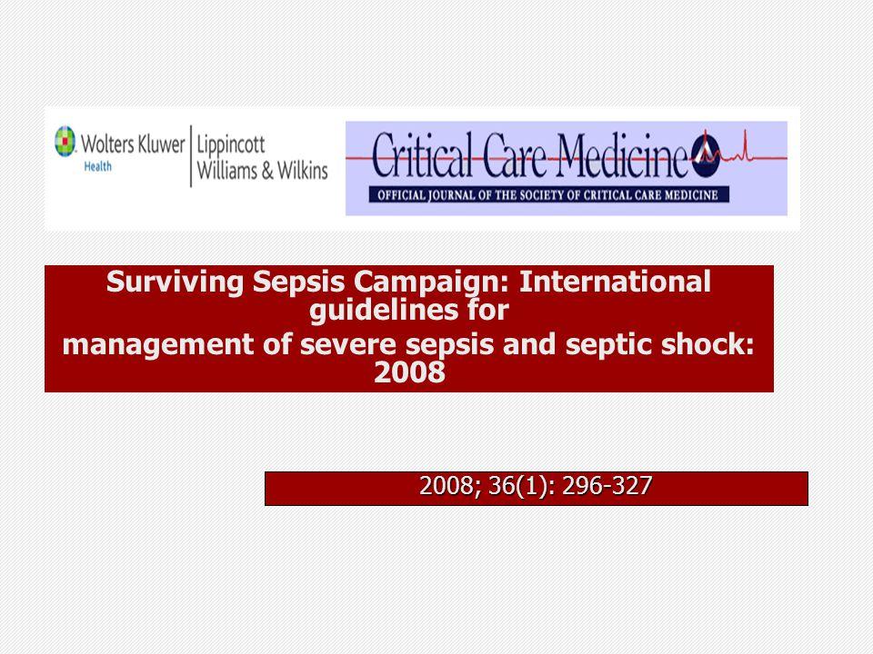 Surviving Sepsis Campaign (SSC) Existem evidências de intervenções benéficas na sepse grave/choque séptico Conhecer x aplicar evidências Protocolo de cuidados melhora a prática assistencial Objetivo: diminuir o risco relativo de óbito em 25% em cinco anos