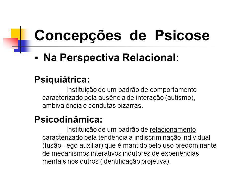Na Perspectiva Relacional: Psiquiátrica: Psicodinâmica: Concepções de Psicose Instituição de um padrão de relacionamento caracterizado pela tendência