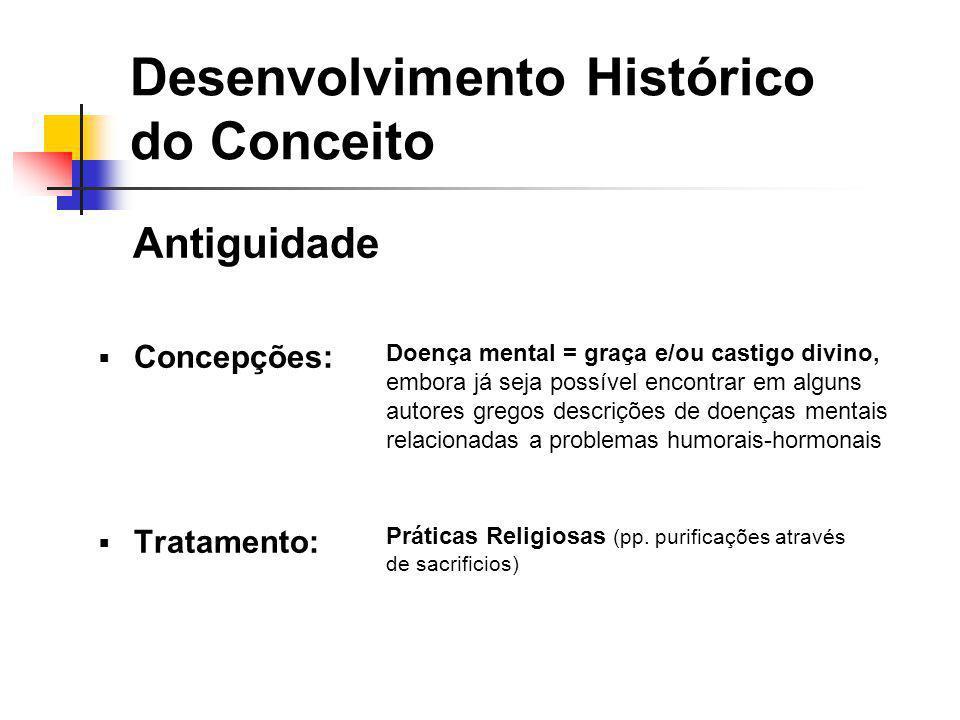 Antiguidade Concepções: Tratamento: Desenvolvimento Histórico do Conceito Doença mental = graça e/ou castigo divino, embora já seja possível encontrar