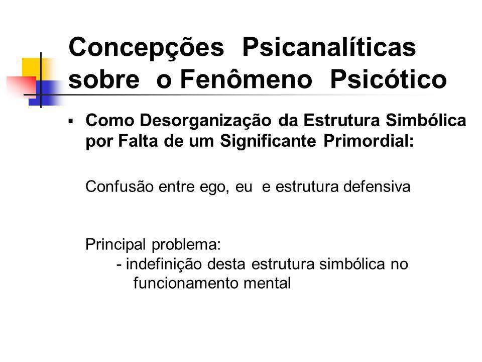 Como Desorganização da Estrutura Simbólica por Falta de um Significante Primordial: Concepções Psicanalíticas sobre o Fenômeno Psicótico Confusão entr