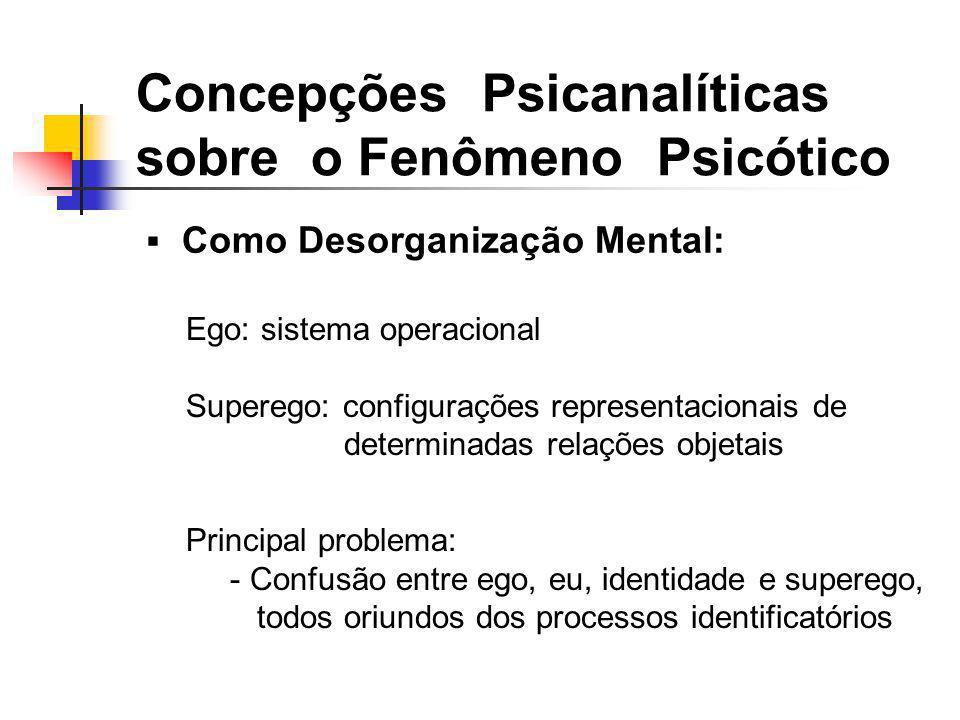 Como Desorganização Mental: Concepções Psicanalíticas sobre o Fenômeno Psicótico Ego: sistema operacional Superego: configurações representacionais de